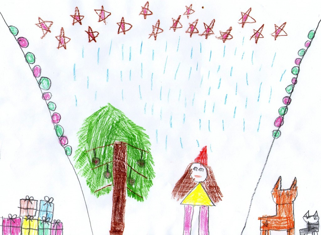 """""""Üks päkapikk peab õues loomadega pidu"""" Getter Kallas, 6. aastane"""