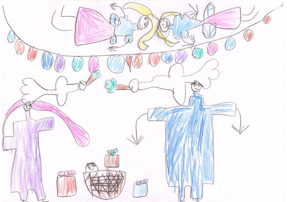 """"""" Jeesuslaps ja Noa tuvid oliivioksaga"""" Marie Elise Põder, 6. aastane"""