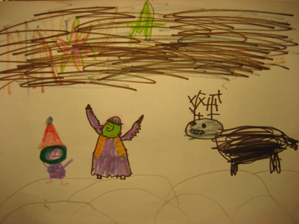 Päkapikk Häärbert Lepi, ingel Pingelingelo ja põhjapõder, autor: Olev-Martin Põder, 5-aastane