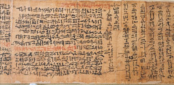Sinuhe papüürus, 12. dünastia, ca. 1800 eKr. kõrgus 21 cm, pikkus 490 cm. Inv.-No. P 3022, Egyptian Museum Berlin (Saksamaa)