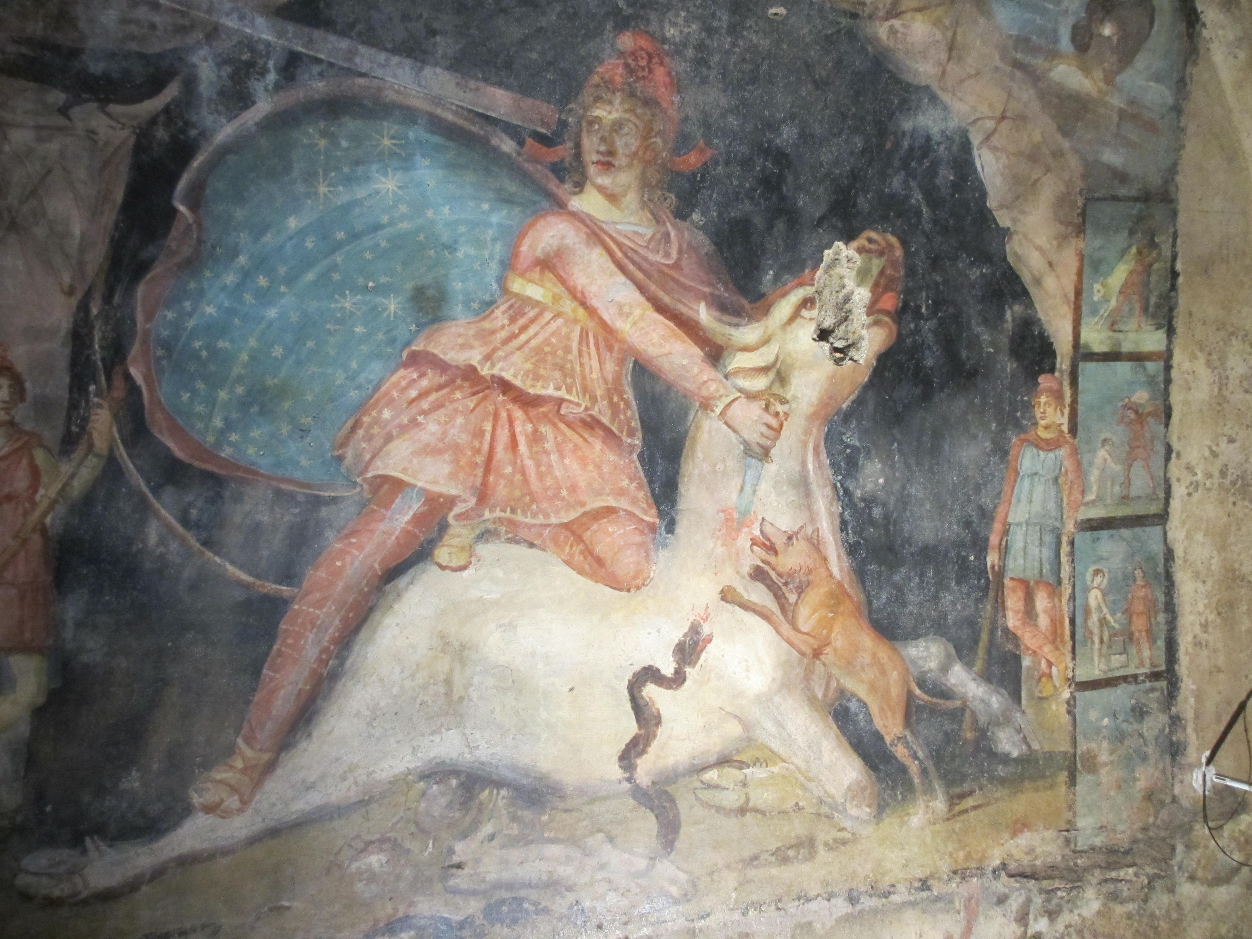Foto 4: Mithrase härjaohvrit kujutav maal Marino (Itaalia) mithraeum'ist. Paremal servas on näha teisi stseene Mithrase elust, mida kujutavad ka fotol 3 põhikujutist ümbritsevad stseenid (foto: Jaan Lahe)